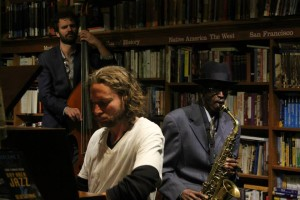 Grant Levin, piano, Aaron Cohn, bass, Terrance Tony, Sax at Bird & Beckett Books & Records, San Francisco