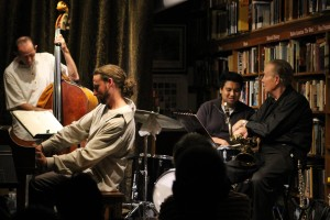 Grant Levin, piano, Chris Amberger, bass, Hamir Atwal, Drums and Noel Jewkes, Sax at Bird & Beckett Books & Records, San Francisco